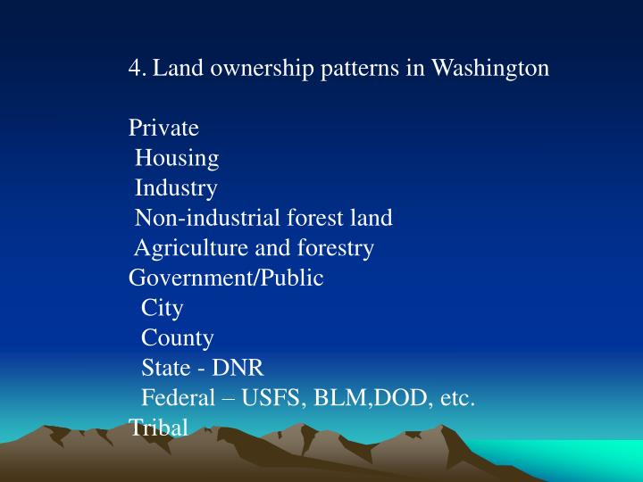 Land ownership patterns in Washington