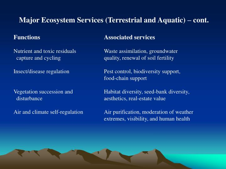 Major Ecosystem Services (Terrestrial and Aquatic) – cont.