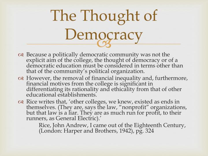 The Thought of Democracy