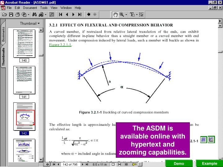 The ASDM is available online with hypertext and zooming capabilities.