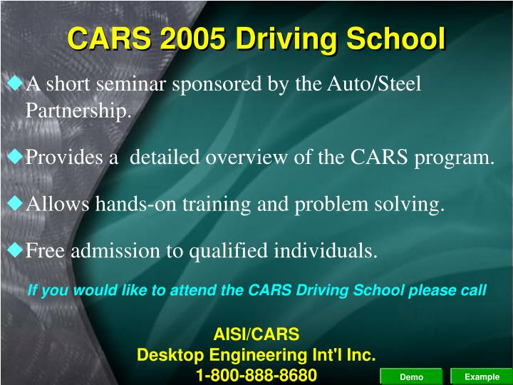 CARS 2005 Driving School