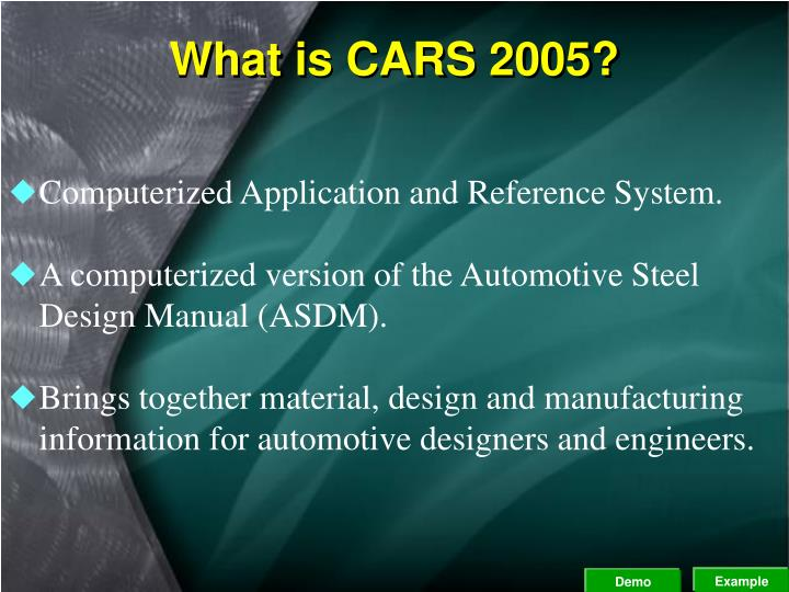 What is CARS 2005?