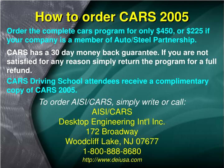 How to order CARS 2005