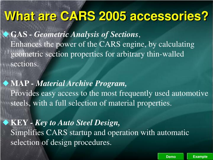 What are CARS 2005 accessories?