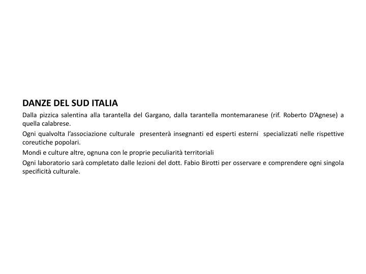 DANZE DEL SUD ITALIA