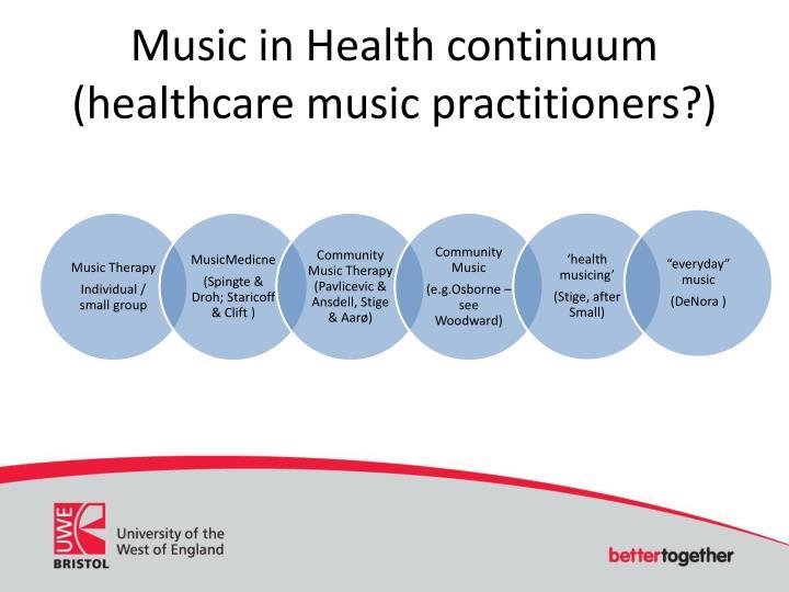 Music in Health continuum