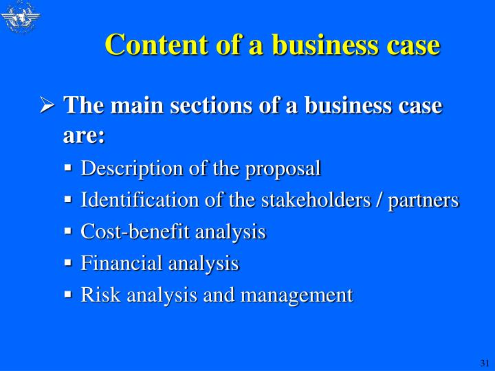 Content of a business case