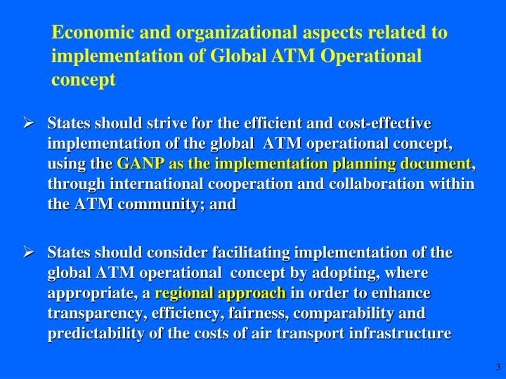 Economic and organizational aspects related to implementation of Global ATM Operational concept