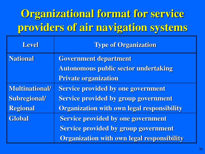 Organizational format for service