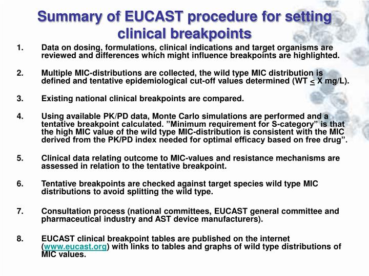 Summary of EUCAST procedure for setting clinical breakpoints