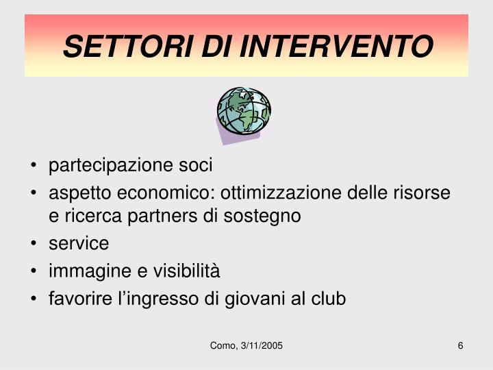 SETTORI DI INTERVENTO