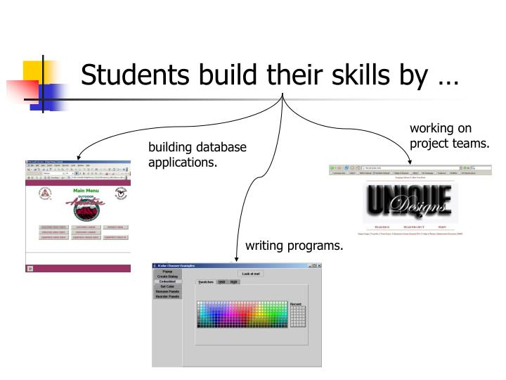 Students build their skills by …
