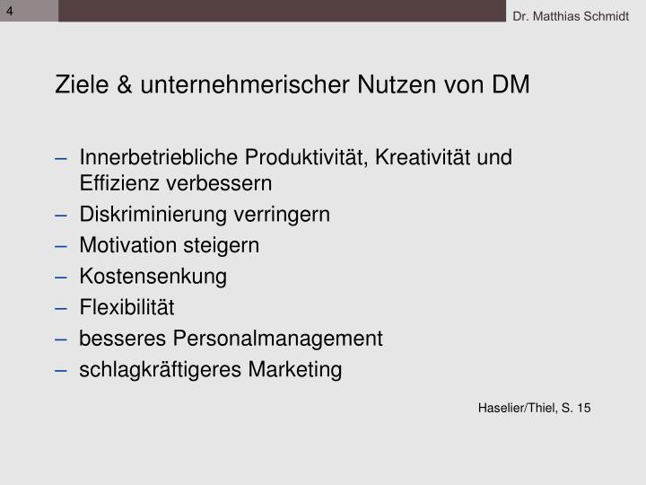 Ziele & unternehmerischer Nutzen von DM