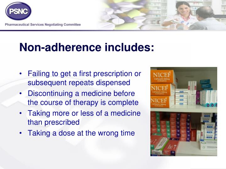 Non adherence includes
