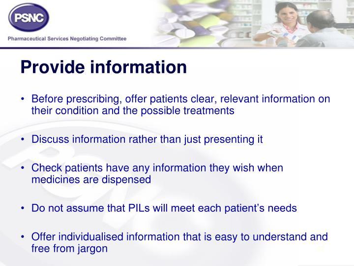 Provide information