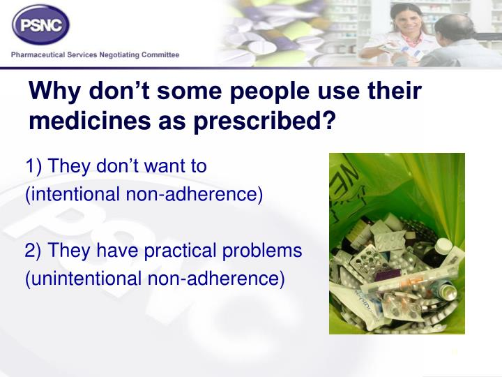 Why don't some people use their medicines as prescribed?