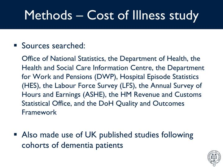 Methods – Cost of Illness study