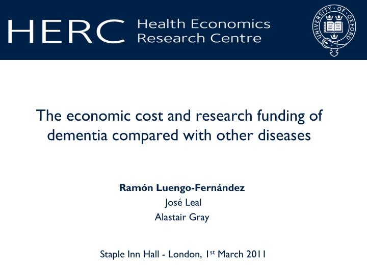 The economic cost and research funding of dementia compared with other diseases