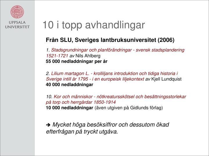 10 i topp avhandlingar