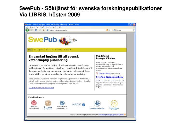 SwePub - Söktjänst för svenska forskningspublikationer