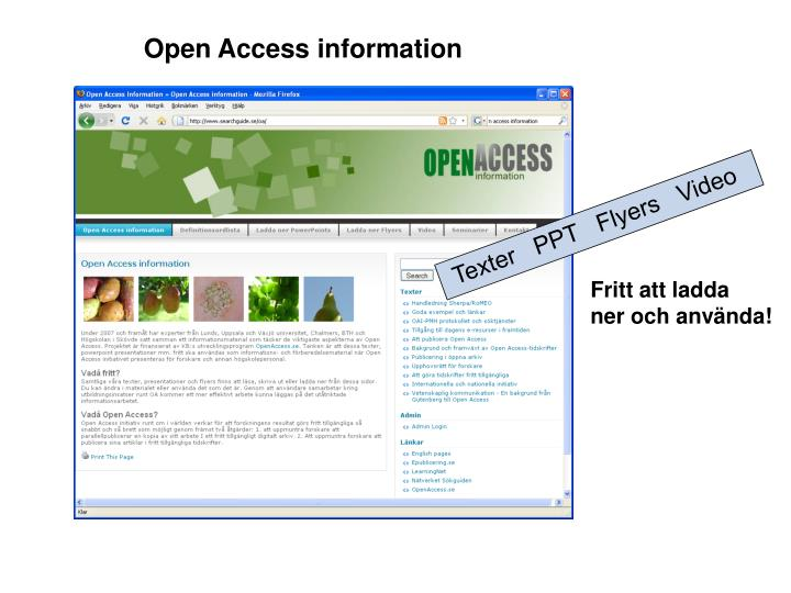 Open Access information