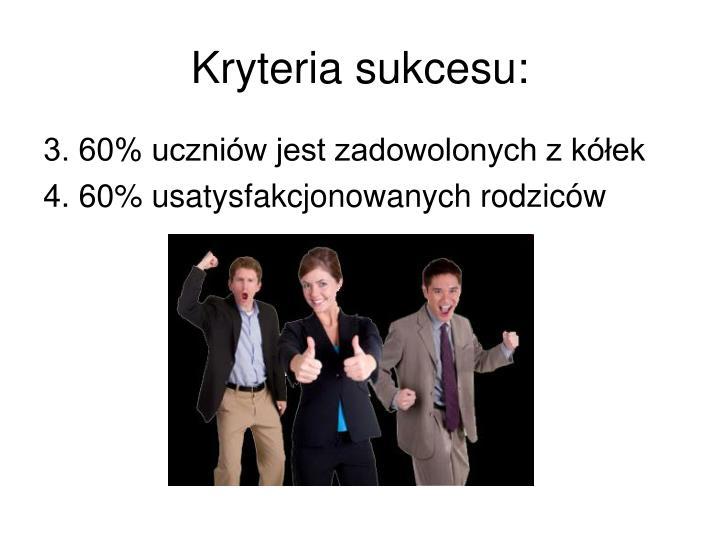 Kryteria sukcesu: