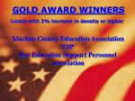 gold award winners locals with 2 increase in density or higher