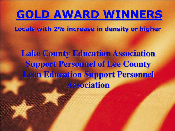GOLD AWARD WINNERS