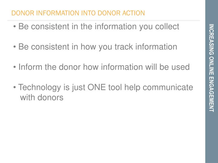 DONOR INFORMATION INTO DONOR ACTION
