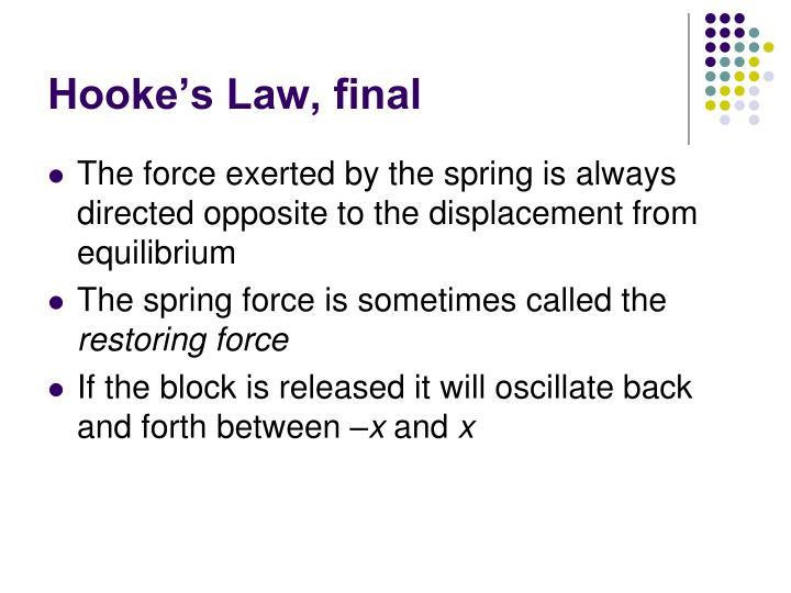 Hooke's Law, final