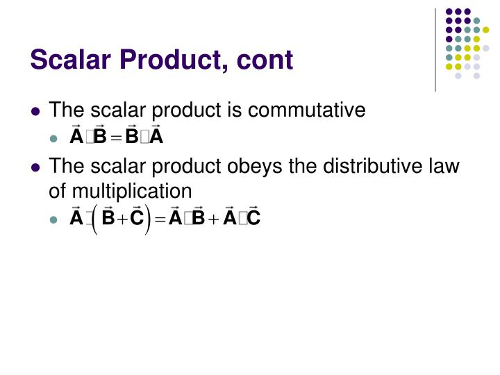 Scalar Product, cont