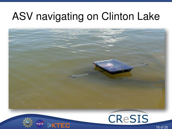 ASV navigating on Clinton Lake