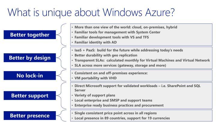 What is unique about Windows Azure?