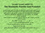the stochastic frontier cost function