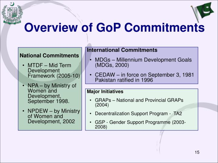 Overview of GoP Commitments