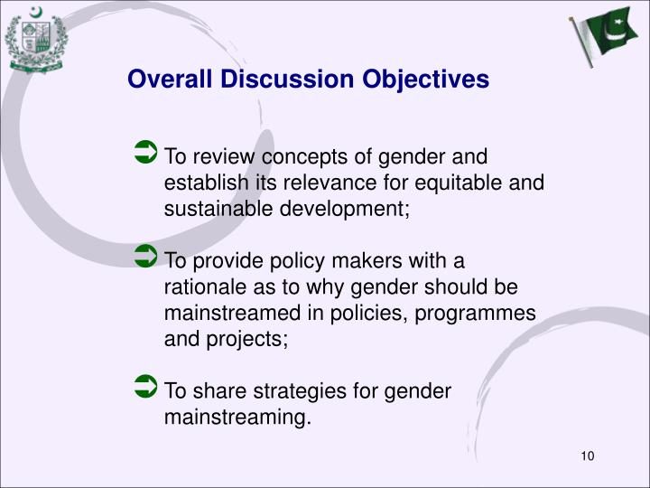 Overall Discussion Objectives