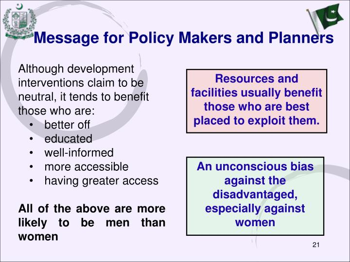 Message for Policy Makers and Planners