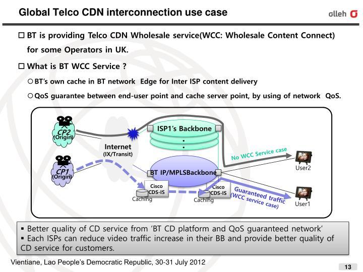 Global Telco CDN interconnection use case
