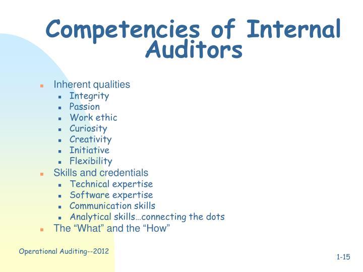Competencies of Internal Auditors