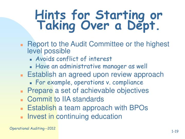 Hints for Starting or Taking Over a Dept.
