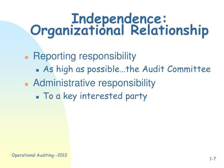 Independence: Organizational Relationship