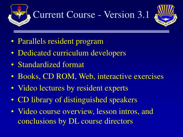 Current Course - Version 3.1