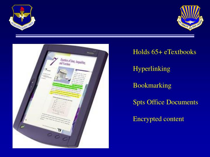Holds 65+ eTextbooks