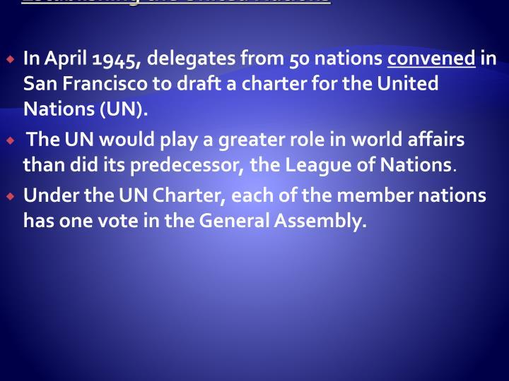 Establishing the United Nations
