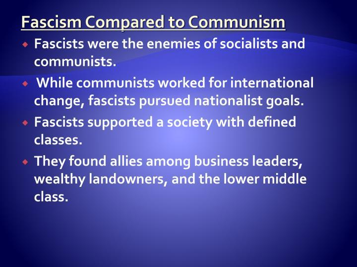 Fascism Compared to Communism