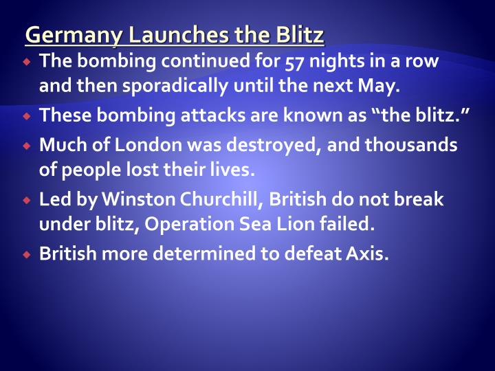 Germany Launches the Blitz
