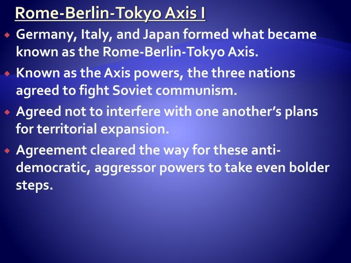 Rome-Berlin-Tokyo Axis I