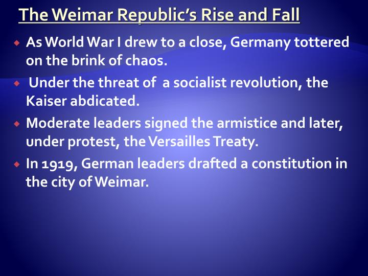 The Weimar Republic's Rise and Fall