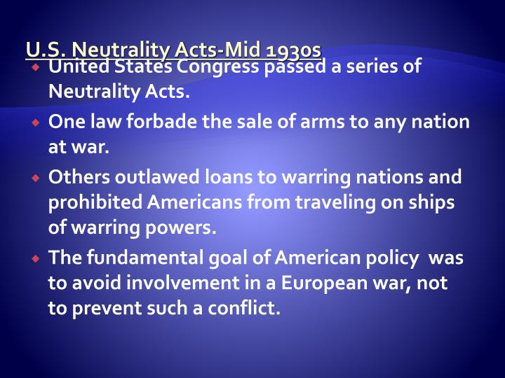 U.S. Neutrality Acts-Mid 1930s
