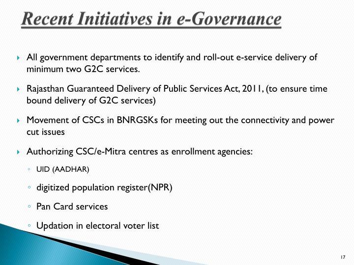 Recent Initiatives in e-Governance